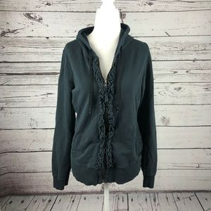 Lucy Yoga Black Zip Up Hoodie Ruffle Trim Jacket